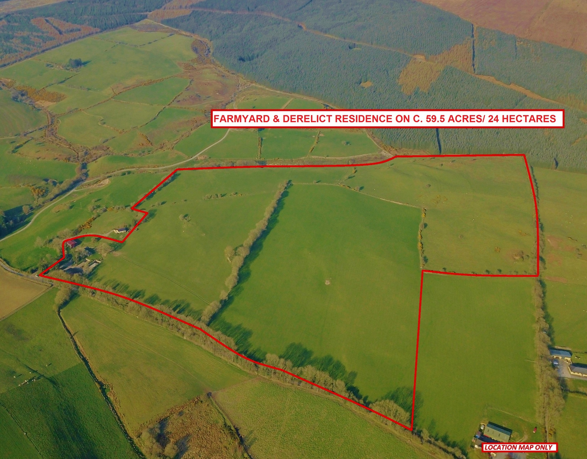 Farmyard & Derelict Residence on c. 59.5 Acres/ 24 Hectares Available In 1 or 2 Lots, Kilbaylet