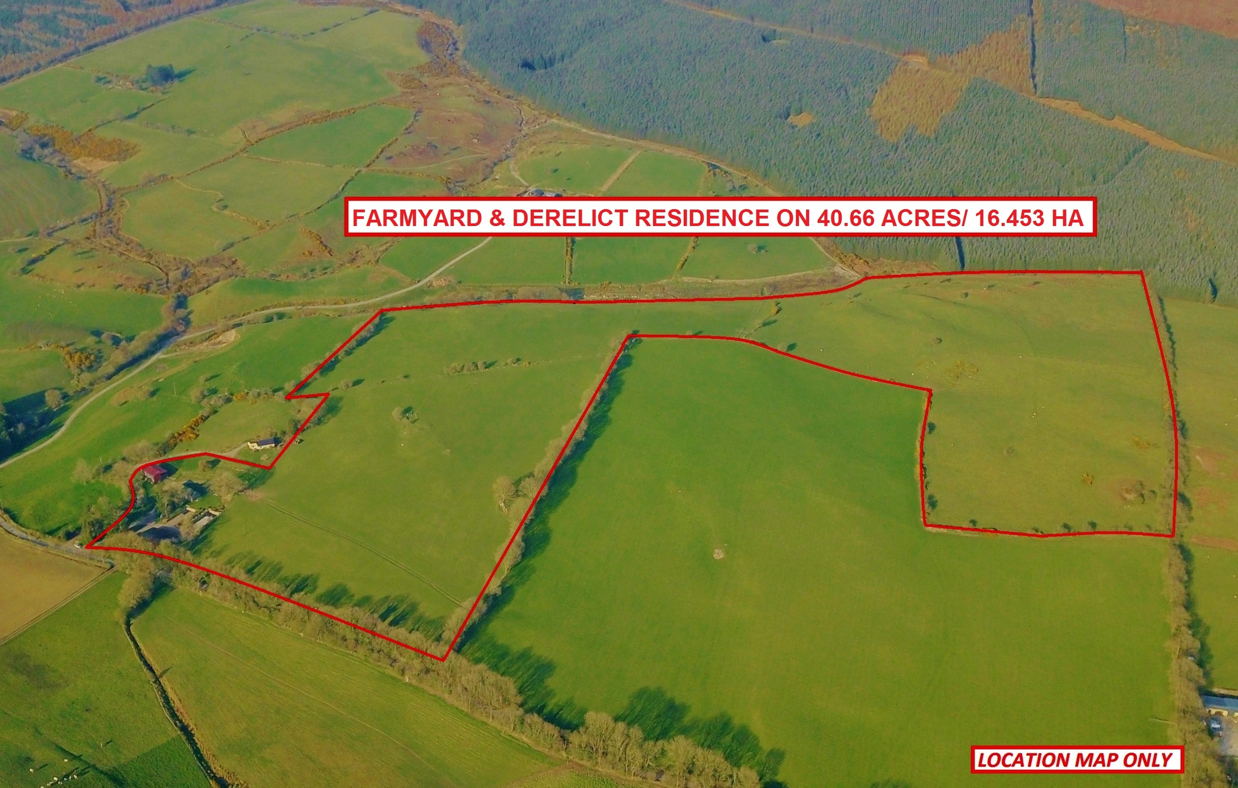 Derelict Residence & Farmyard C. 59.5 Acres Available In 1 Or 2 Lots, Kilbaylet, Donard, Co. Wic