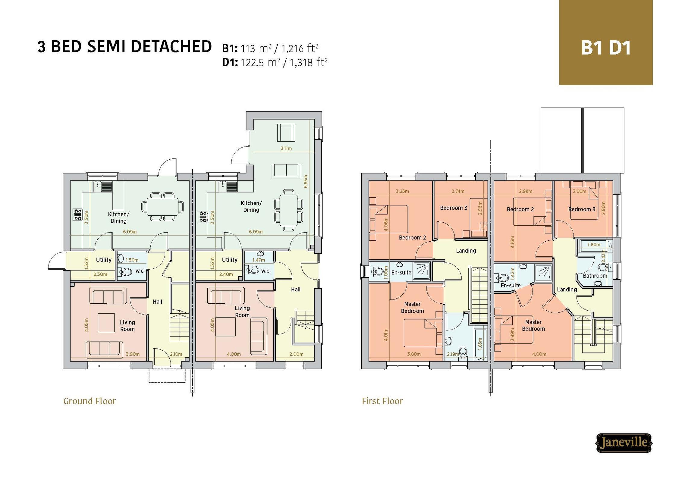 D1 House Type, 3 Bed Semi, 'Janeville', Carrigaline, Co. Cork